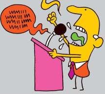 Politician yelling cartoon